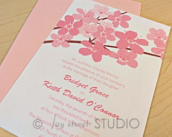Wedding Invitation Suite / Modern Wedding Invitations, Cherry Blossoms - Deposit