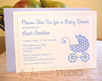 Baby Shower Invitations, Polka Dot Baby Carriage, Choose from Pink Blue or Yellow, 10-Count