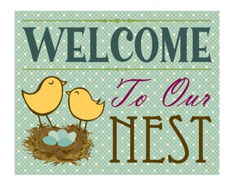 """Lovebirds 8x10 Art Print, """"Welcome To Our Nest"""""""
