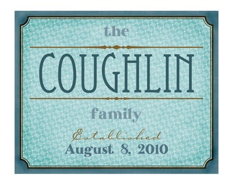 Customizable Family Name Wall Art 8x10, Choose Your Colors