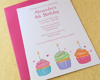 Cupcake Invitations Girl's Birthday Party, 10-Count