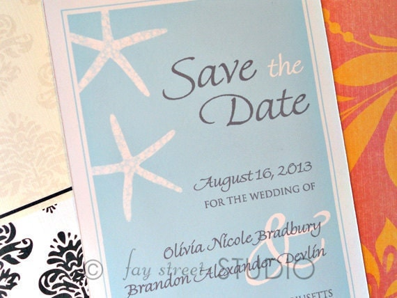 Save the Date Magnet, Wedding Card, Starfish