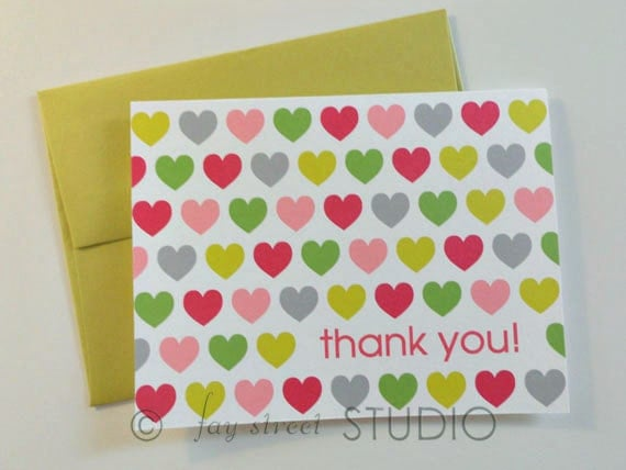 Thank You Notes / Thank You Cards, Hearts, 10-Count