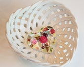 Lattice Woven Hearts & Roses Ceramic Mosaic Candy Dish