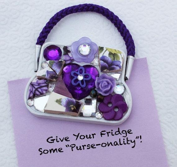 Mini Mosaic Purse Magnet - Purple
