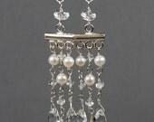 Aquamarine, Crystal & Fresh Water Pearl Sterling Silver  Chandelier Earrings
