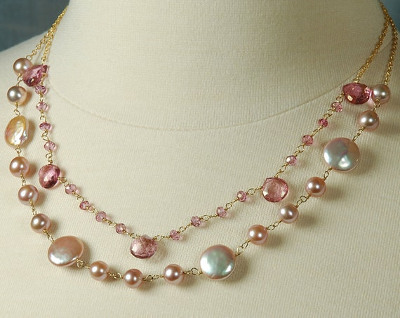 Pink Mystic Quartz, Pink Fresh Water Pearl & 14K Gold Filled Necklace