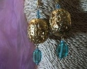 SALE, vintage GOLD FILIGREE and turquoise glass earrings