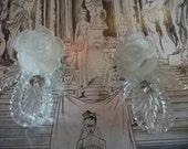 SALE, vintage perspex and rhinestone earrings BRIDAL, romantic,Paris Fashion Week, 1985