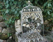 VINTAGE BIRDCAGE style storage, with dome, wrought iron
