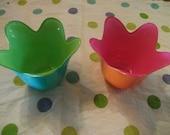 RETRO FLOWER VASES, tea-light holders, set of 2