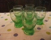 VINTAGE GREEN GLASS tumblers, set of 6