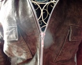s.al.e-vintage LEATHER JACKET, chocolate brown suede, size S/M