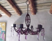 SALE-METAL CHANDERLIER, purple, lilacs, coppery tones, amber glass beads, candle holder