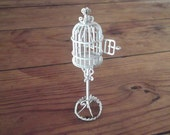 SALE- dolls house METAL BIRDCAGE, white, delicate, handmade