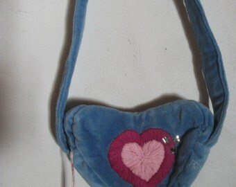 HEART SHAPED PURSE, over shoulder, teen girls, Valentine's, French,red, blue, heart