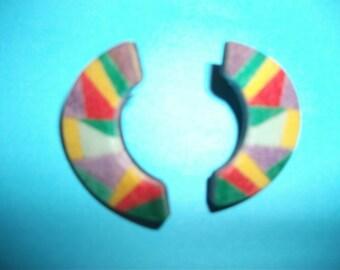 Vintage geometric earrings1980s, abstract, mosaic, perspex, modern, minimalist