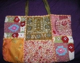 SALE-Vintage BEADED HANDBAG, women, accessories, handmade