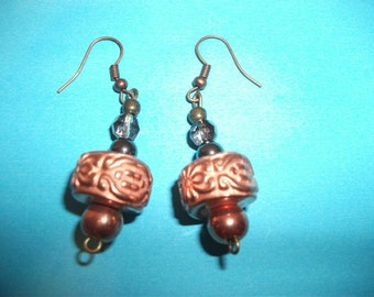 handmade copper and crystal earrings