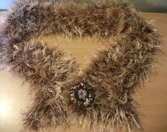 SALE- supersoft FLUFFY copper SHRUG with free brooch