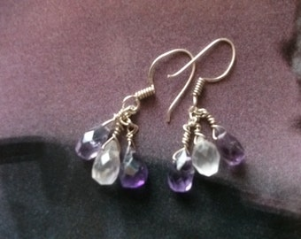 AMETHYST and ROSE QUARTZ earrings, sterling silver wire-wrapped.
