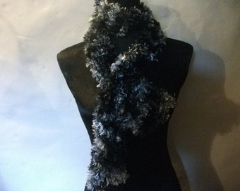Black and silvery pewter scarf , handknitted OOAK