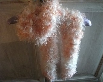 sale-HANDKNITTED SCARF, fluffy, shades of apricot, OOAK