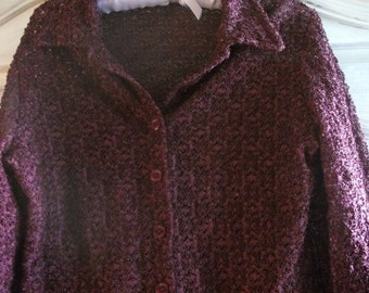 VINTAGE LACY BLOUSE, French, burgundy.wine colour, lacy effect, M