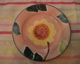 VINTAGE PORTUGUESE PLATE, bright, cheerful sunflower