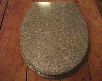 SILVER GLITTER TOILET seat, funky, modern, minimalist, available in gold and also black glitter