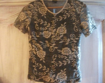 VINTAGE TOP, evening, or day, black, gold roses, women
