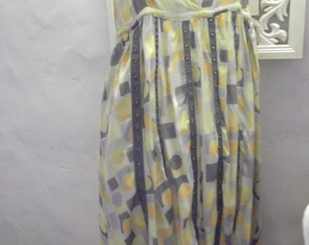 "sale--SUMMER DRESS, baby doll, slip dress, 1960s style, geometric print, 32"" bust"