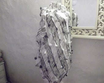 SALE--vintage WRAP, light, woven, pearly white, black, pewter grey