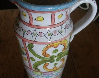 vintage HANDMADE WINE JUG, from Portugal, signed by artist, beach house, cottage chic