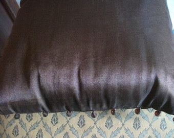 "CHOCOLATE BROWN CUSHION, voile, cotton, beaded, 30 x 30 cm,12 x 12"",Hollywood Regency"