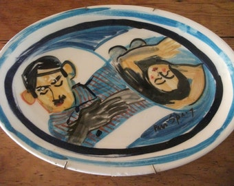 VINTAGE CERAMIC PLATE, Original Art, handmade, signed by artist, South African, 34 x 24 cm, ready for hanging on wall
