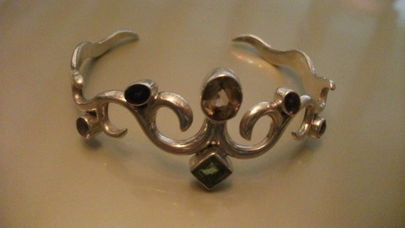 SALE, FURTHER REDUCED, Sterling silver cuff with faceted gemstones, amethyst, sapphire, garnet, peridot, citrine