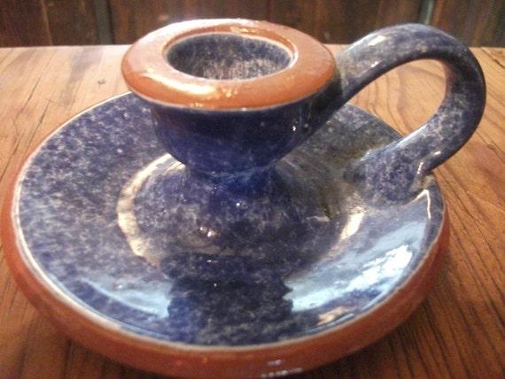 VINTAGE PORTUGUESE SPONGEWARE, candle holder, blue
