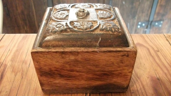 VINTAGE WOODEN BOX, carved, storage, cottage chic, rustic, Indian