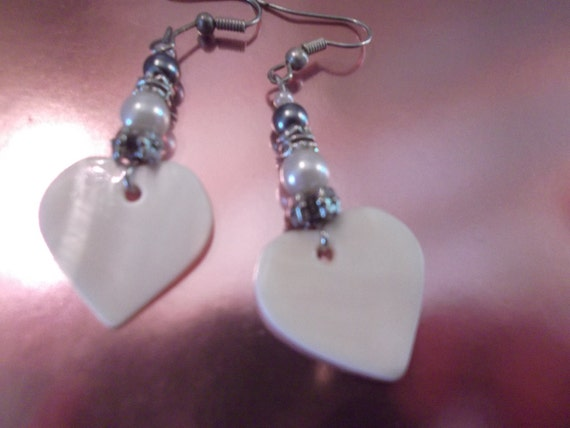 sale-MOTHER OF PEARL heart earrings, with silver, pewter beads