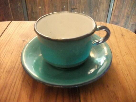 ANTIQUE DEMITASSE enamelware CUP and saucer, aqua with blue trim, Portuguese