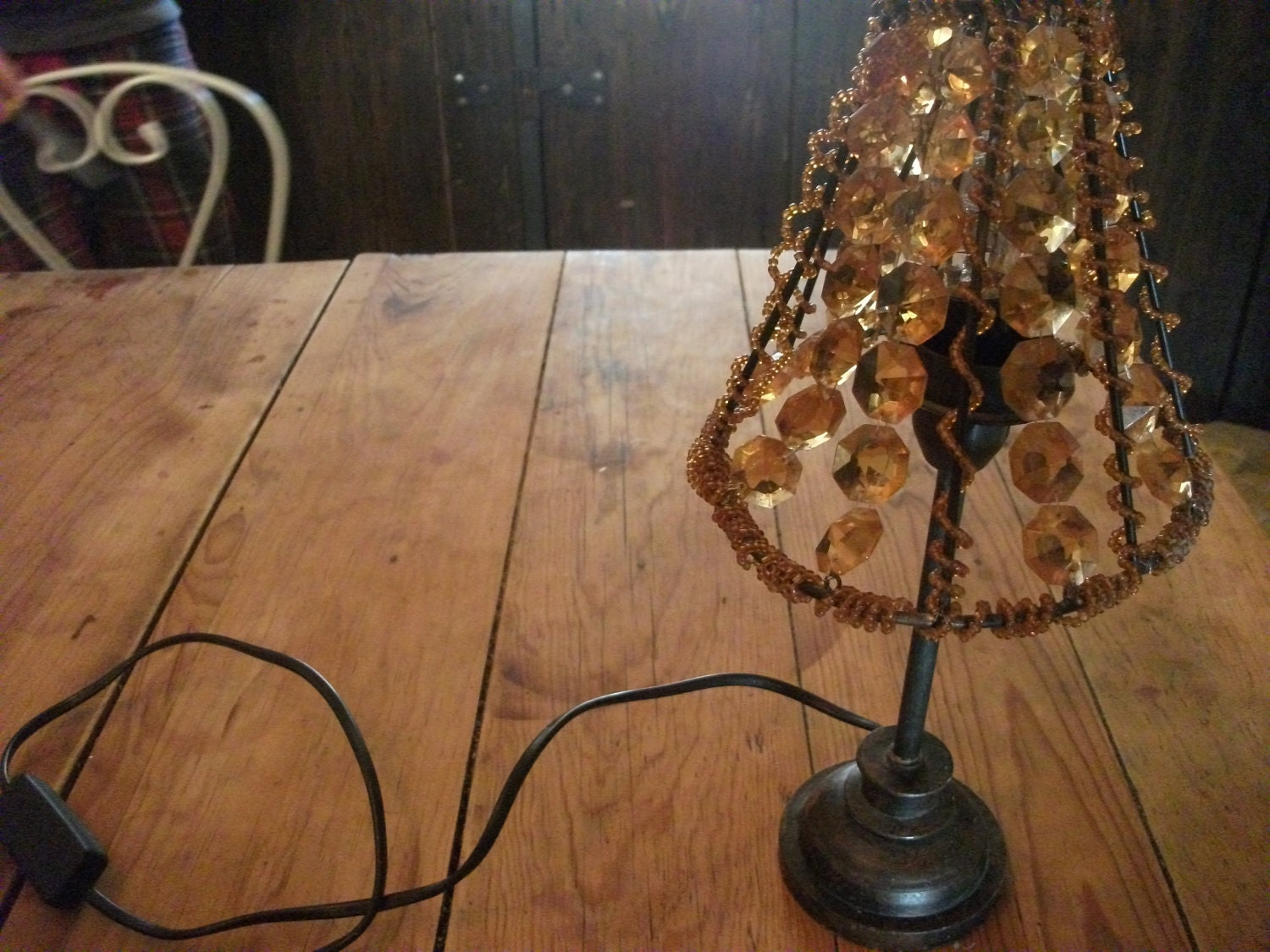 VINTAGE TABLE LAMP bedside lighting amber glass by ...
