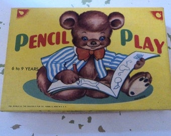 Vintage Games Puzzles children's coloring books, box & ephemera crafts supplies paper Pencil Play