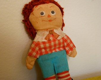 Vintage Knickerbocker Raggedy Andy Ann Doll folk toy 1960s