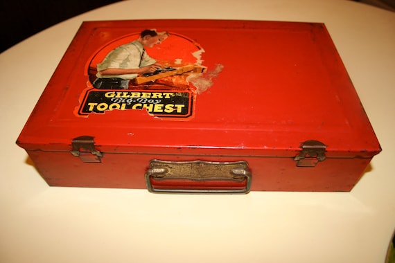 Gilbert's Big Boy Tool Chest distressed box toy 1930s 1940s