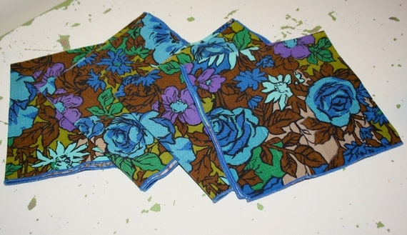 Funky vintage floral barkcloth napkins linens set of four 1960s