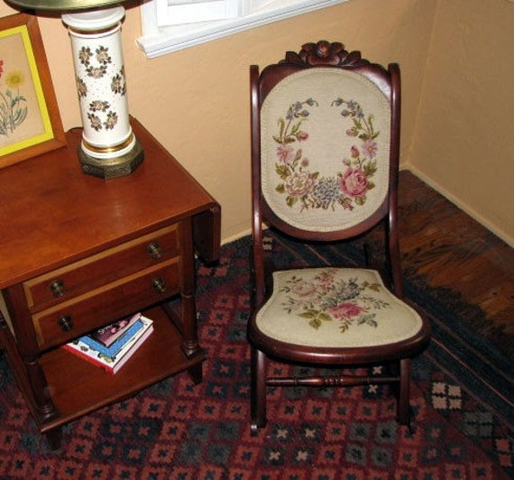 Antique Folding Rocking Chair Collapsible Collignon-like Rocker Petit Point Roses c1890