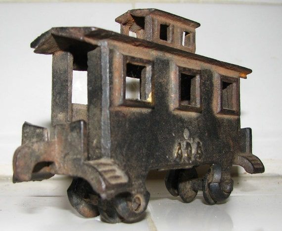 Antique Cast Iron Toy Caboose Train Locomotive No. 404