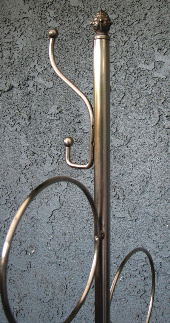 Unusual MidCentury Chrome Metal Coat Stand Hall Tree Towel Holder Industrial Modern
