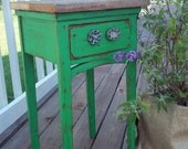 Revamped Vintage Side Table / Grass Green/ Barnwood / Valve Handles---Featured TREASURY Item